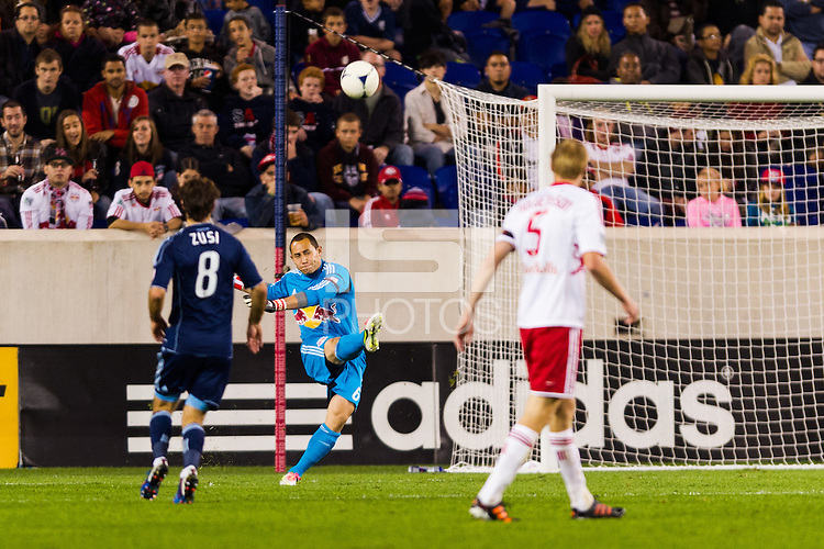 New York Red Bulls goalkeeper Luis Robles (31). The New York Red Bulls and Sporting Kansas City played to a 0-0 tie during a Major League Soccer (MLS) match at Red Bull Arena in Harrison, NJ, on October 20, 2012.