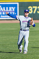 South Bend Cubs third baseman Jesse Hodges (25) warms up before the game against the Great Lakes Loons on May 18, 2016 at Dow Diamond in Midland, Michigan. Great Lakes defeated South Bend 5-4. (Andrew Woolley/Four Seam Images)