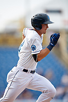 Lake County Captains shortstop Luke Wakamatsu (12) runs to first base during the first game of a doubleheader against the West Michigan Whitecaps on August 6, 2017 at Classic Park in Eastlake, Ohio.  Lake County defeated West Michigan 4-0.  (Mike Janes/Four Seam Images)
