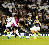 Bristol Rovers' Liam Sercombe runs at Fulham's Marcelo Djalo during the Carabao Cup match between Fulham and Bristol Rovers at Craven Cottage, London, England on 22 August 2017. Photo by Carlton Myrie.