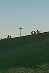 Seattle, Space Needle, Gas Works Park, summer, picnic, couples, on a hill, Washington State, Pacific Northwest, USA,.