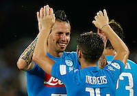 Dries Mertens with teamate Marek Hamsik   celebrates after scoring during the friendly soccer match,between SSC Napoli and Onc Nice      at  the San  Paolo   stadium in Naples  Italy , August 01, 2016<br />  during the friendly soccer match,between SSC Napoli and Onc Nice      at  the San  Paolo   stadium in Naples  Italy , August 02, 2016