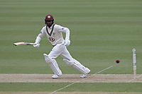 Ryan Patel scores two runs to bring up his century for Surrey during Surrey CCC vs Essex CCC, Specsavers County Championship Division 1 Cricket at the Kia Oval on 12th April 2019