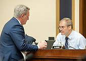 """United States House Majority Leader Kevin McCarthy (Republican of California), left, and United States Representative Jim Jordan (Republican of Ohio), right, converse prior to Sundar Pichai, Chief Executive Officer of Google, giving testimony before the United States House Committee on the Judiciary on """"Transparency & Accountability: Examining Google and its Data Collection, Use and Filtering Practices"""" on Capitol Hill in Washington, DC on Tuesday, December 11, 2018.<br /> Credit: Ron Sachs / CNP<br /> (RESTRICTION: NO New York or New Jersey Newspapers or newspapers within a 75 mile radius of New York City)"""