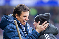 Sunderland manager Chris Coleman greets a member of the ground staff on his return to Cardiff City Stadium ahead of the Sky Bet Championship match between Cardiff City and Sunderland at the Cardiff City Stadium, Cardiff, Wales on 13 January 2018. Photo by Mark  Hawkins / PRiME Media Images.