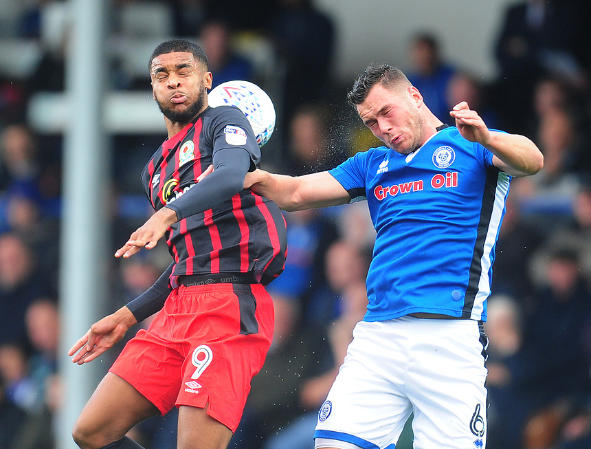 Blackburn Rovers' Dominic Samuel vies for possession with Rochdale's Harrison McGahey<br /> <br /> Photographer Kevin Barnes/CameraSport<br /> <br /> The EFL Sky Bet League One - Rochdale v Blackburn Rovers - Saturday 9th September 2017 - Spotland Stadium - Rochdale<br /> <br /> World Copyright &copy; 2017 CameraSport. All rights reserved. 43 Linden Ave. Countesthorpe. Leicester. England. LE8 5PG - Tel: +44 (0) 116 277 4147 - admin@camerasport.com - www.camerasport.com