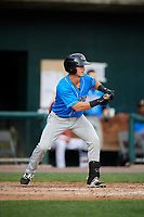 Akron RubberDucks third baseman Sam Haggerty (8) squares around to bunt during a game against the Harrisburg Senators on August 18, 2018 at FNB Field in Harrisburg, Pennsylvania.  Akron defeated Harrisburg 5-1.  (Mike Janes/Four Seam Images)