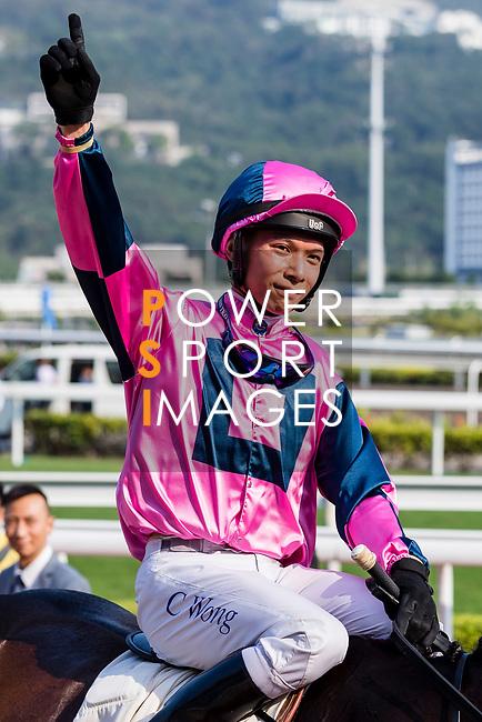 Jockey Victor Wong riding #4 Land Grant celebrates after winning the race 6 during Hong Kong Racing at Sha Tin Racecourse on October 01, 2018 in Hong Kong, Hong Kong. Photo by Yu Chun Christopher Wong / Power Sport Images
