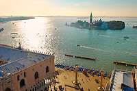 Arial view of saint Mark's square looking towards the Island of San Giorgio Maggiore - Venice - Italy