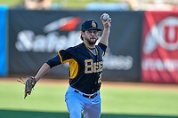 Salt Lake Bees starting pitcher Chris Jones (29) warms up in the bullpen before the game against the Tacoma Rainiers in Pacific Coast League action at Smith's Ballpark on July 23, 2016 in Salt Lake City, Utah. The Rainiers defeated the Bees 4-1. (Stephen Smith/Four Seam Images)