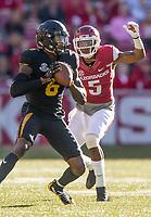 Hawgs Illustrated/BEN GOFF <br /> Henre' Toliver (5), Arkansas cornerback, closes in on J'Mon Moore, Missouri wide receiver, in the second quarter Friday, Nov. 24, 2017, at Reynolds Razorback Stadium in Fayetteville.