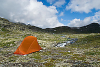 Orange single person tent in mountainstains of Jotunheimen national park, Norway