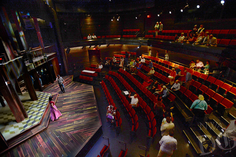 "NWA Democrat-Gazette/ANDY SHUPE<br /> Performers and technicians rehearse Thursday, Aug. 8, 2019, in front of visitors during a tour of the new TheatreSquared facility in Fayetteville. The main building houses two theaters, a rehearsal room, offices, education and community space, design workshops and a cafe and bar. A separate building to the south has eight guest-artist apartments. Outdoor areas include a patio on Spring Street, a second-level terrace on West Avenue and a rooftop deck. The theater company opens its new venue with a production of ""Shakespeare in Love"" beginning Aug. 14. Visit nwadg.com/photos to see more photographs from the tour."