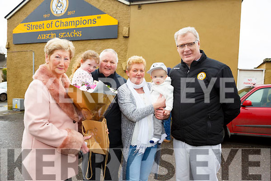 The Austin Stacks GAA club unveil a mural in honour of their Centenary celebrations at Urban Terrace, Roack Street on Saturday morning last. L-r, Mairead Fernane, Ruby Hurley, Tom Tansley, Chris Tansley, Luke Hurley and Liam Lynch (Chairman of Austin Stacks GAA Club).