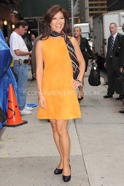 WWW.ACEPIXS.COM . . . . . .September 5, 2012...New York City....Julie Chen tapes an appearance on the Late Show with David Letterman on September 5, 2012  in New York City ....Please byline: KRISTIN CALLAHAN - ACEPIXS.COM.. . . . . . ..Ace Pictures, Inc: ..tel: (212) 243 8787 or (646) 769 0430..e-mail: info@acepixs.com..web: http://www.acepixs.com .