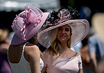 ELMONT, NY - JUNE 09: Women wearing stylish hats on Belmont Stakes Day at Belmont Park on June 9, 2018 in Elmont, New York. (Photo by Eric Patterson/Eclipse Sportswire/Getty Images)