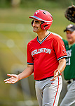 15 September 2019: Burlington Mayor and Cardinal infielder Miro Weinberger expresses himself after flying out to end the game against the Waterbury Warthogs at Burlington High School in Burlington, Vermont. The Warthogs edged out the Cardinals 2-1 in post season play. Mandatory Credit: Ed Wolfstein Photo *** RAW (NEF) Image File Available ***