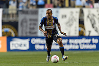 Fabio Alves (Fabinho) (33) of the Philadelphia Union. The Philadelphia Union defeated Toronto FC 1-0 during a Major League Soccer (MLS) match at PPL Park in Chester, PA, on October 5, 2013.