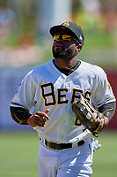 Eric Young Jr. (8) of the Salt Lake Bees during the game against the Albuquerque Isotopes at Smith's Ballpark on April 22, 2018 in Salt Lake City, Utah. The Bees defeated the Isotopes 11-9. (Stephen Smith/Four Seam Images)