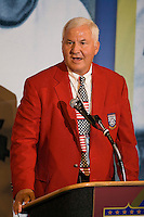 2006 Soccer Hall of Fame inductee Al Trost gives his acceptance speech at his enshrinement in the National Soccer Hall of Fame at Wright Soccer Campus, Oneonta, NY, on August 28, 2006.