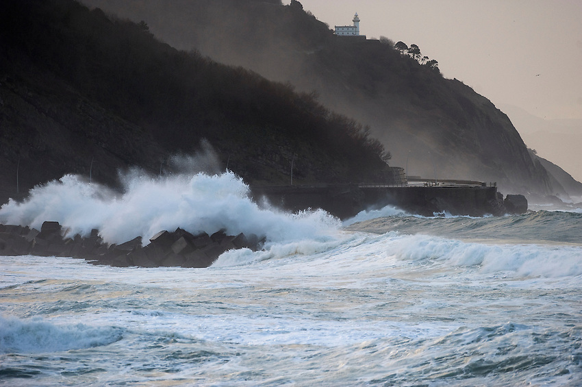 Waves hit the coast in Donostia on February 5, 2014, Basque Country. (Ander Gillenea / Bostok Photo)