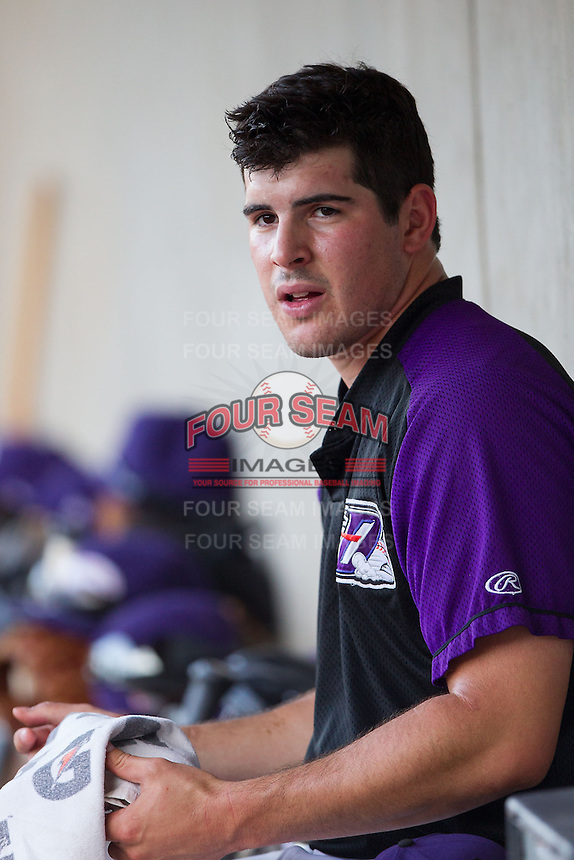 Winston-Salem Dash starting pitcher Carlos Rodon (26) between innings of the game against the Lynchburg Hillcats at BB&T Ballpark on August 13, 2014 in Winston-Salem, North Carolina.  The Hillcats defeated the Dash 4-3.   (Brian Westerholt/Four Seam Images)