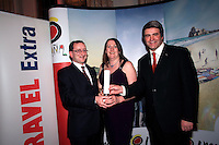 NO REPRO FEE: 27.1.12: Travel Extra Travel Journalist of the Year Awards Announced In Dublin. Pictured was Kevin Nolan from Topflight and Eoghan Corry, Editor of Travel Extra presenting 'Skiing' category winner to Joan Scales (centred) from The Irish Times. Picture Collins Photos.
