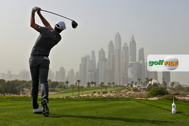Alexander Bjork (SWE) on the 8th tee during Round 1 of the Omega Dubai Desert Classic, Emirates Golf Club, Dubai,  United Arab Emirates. 24/01/2019<br /> Picture: Golffile | Thos Caffrey<br /> <br /> <br /> All photo usage must carry mandatory copyright credit (&copy; Golffile | Thos Caffrey)