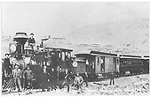 A view of the first train into Victor in 1894 using equipment leased from the D&amp;RG.<br /> Florence &amp; Cripple Creek  Victor, CO  Taken by Harlan, - 5/27/1894