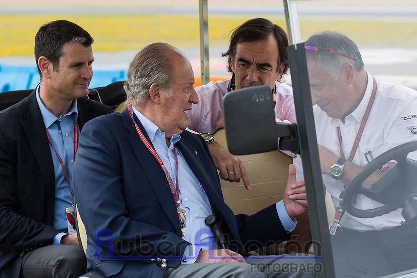 King of Spain Juan Carlos during the qualifying in Motorcycle Championship GP, in Jerez, Spain. April 23, 2016