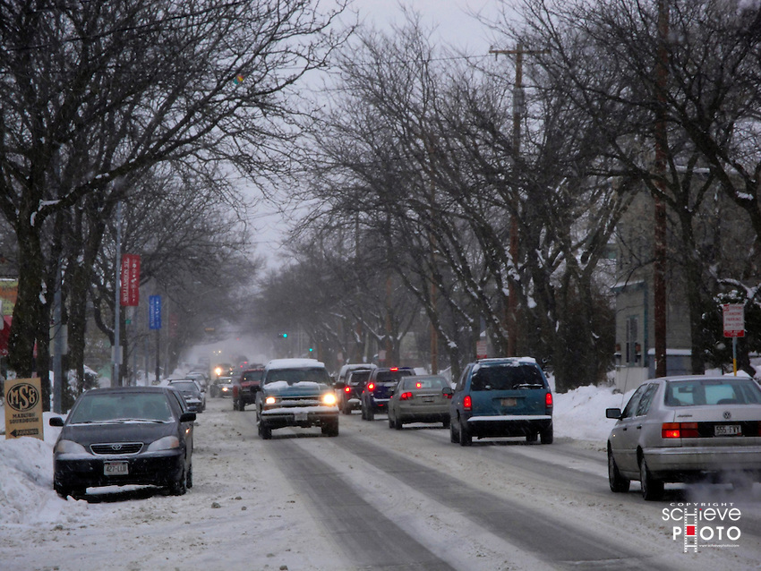 A winter storm dumps several inches of snow on Madison, Wisconsin.