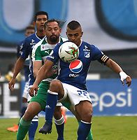 BOGOTÁ-COLOMBIA, 17–08-2019: Jhon Duque de Millonarios y Matías Mier de La Equidad disputan el balón, durante partido entre Millonarios y La Equidad de la fecha 6 por la Liga Águila II 2019  jugado en el estadio Nemesio Camacho El Campín de la ciudad de Bogotá. / Jhon Duque of Millonarios and Matias Mier of La Equidad figth for the ball, during a match between Millonarios and La Equidad of the 6th date for the Aguila Leguaje II 2019 played at the Nemesio Camacho El Campin Stadium in Bogota city, Photo: VizzorImage / Luis Ramírez / Staff.