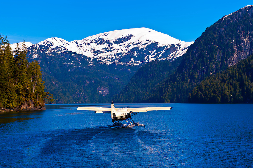 A floatplane taking off in Misty Fjords National Monument, near Ketchikan, southeast Alaska, USA