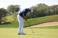 Pablo Larrazabal (ESP) putts on the 13th green during Thursday's Round 1 of the 2016 Portugal Masters held at the Oceanico Victoria Golf Course, Vilamoura, Algarve, Portugal. 19th October 2016.<br /> Picture: Eoin Clarke | Golffile<br /> <br /> <br /> All photos usage must carry mandatory copyright credit (&copy; Golffile | Eoin Clarke)