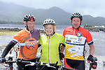 Husband &amp; Wife, Michael and Teresa O'Sullivan from Sneem with Gerald O'Sullivan, Sneem pictured at the half way break at Kilmackillogue Harbour in County Kerry whilst taking part in the annual Sneem Cycle, &ldquo;Wild Atlantic Challenge Charity Cycle&rdquo; in aid of Breakthrough Cancer Research at the weekend.<br /> Photo Don MacMonagle<br /> <br /> repro free photo<br /> Further info: Ann O'Sullivan ann@breakthroughcancerresearch.ie