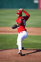 Auburn Doubledays relief pitcher Brayan Serrata (25) delivers a pitch during a game against the Mahoning Valley Scrappers on June 19, 2016 at Falcon Park in Auburn, New York.  Mahoning Valley defeated Auburn 14-3.  (Mike Janes/Four Seam Images)