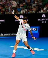 Roger Federer of Switzerland in action on Day 14 of the Australian Open