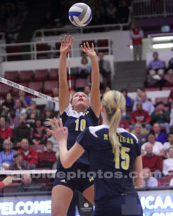 The University of Michigan women's volleyball team defeated Stanford, 3-1, at Maples Pavilion in Palo Alto, Calif., on December 3, 2011, and advanced to the NCAA Sweet 16.