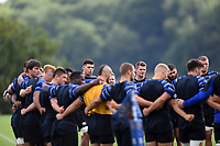 The Bath Rugby squad huddle together. Bath Rugby pre-season training on August 14, 2018 at Farleigh House in Bath, England. Photo by: Patrick Khachfe / Onside Images