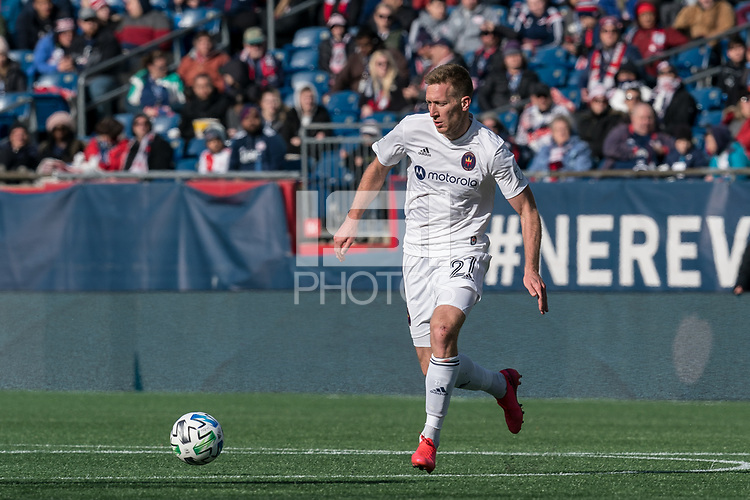 FOXBOROUGH, MA - MARCH 7: Robert Beric #27 of Chicago Fire on the attack during a game between Chicago Fire and New England Revolution at Gillette Stadium on March 7, 2020 in Foxborough, Massachusetts.