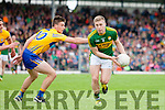 Peter Crowley Kerry in action against Jamie Malone and Gordon Kelly Clare in the Munster Senior Football Championship at Fitzgerald Stadium in Killarney on Sunday.