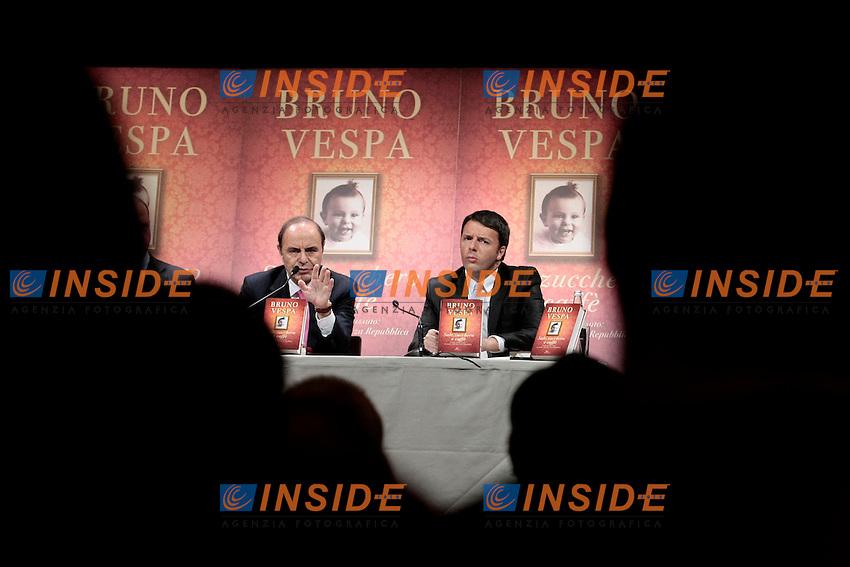 Bruno Vespa e Matteo Renzi<br /> Roma 18/12/2013 Presentazione del libro Sale, Zucchero e Caffe'.<br /> Photo Samantha Zucchi Insidefoto