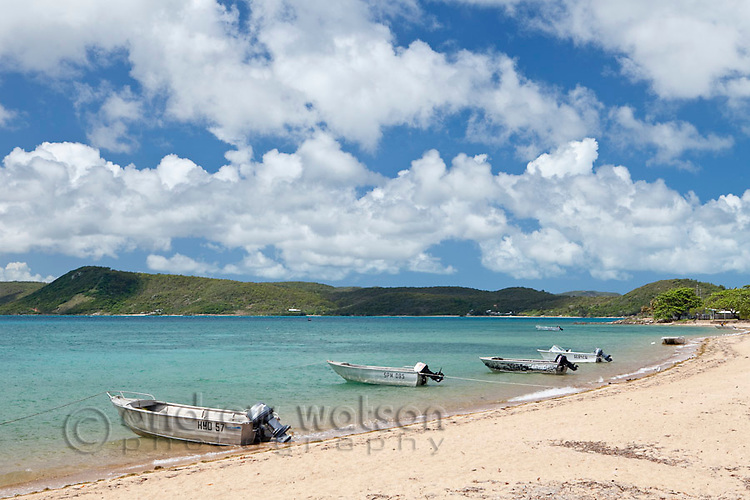 Boats moored at the beach.  Thursday Island, Torres Strait Islands, Queensland, Australia