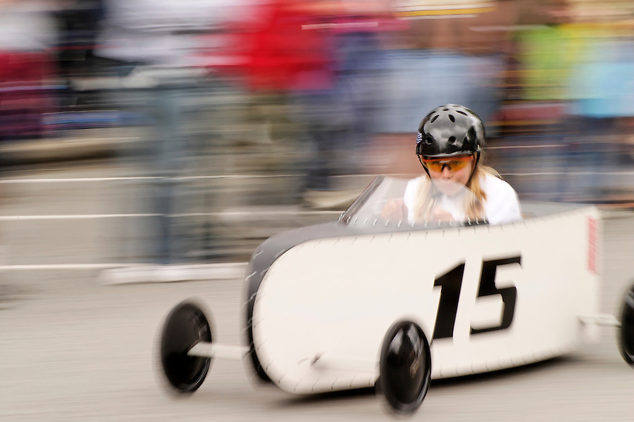 Girl competing in Soap Box Grand Prix during Kla Ha Ya Days festival, Snohomish, Snohomish County, Washington, USA