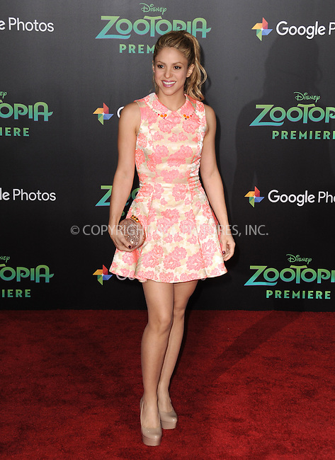 WWW.ACEPIXS.COM<br /> <br /> February 17 2016, LA<br /> <br /> Shakira attending the premiere of Walt Disney Animation Studios' 'Zootopia' at the El Capitan Theatre on February 17, 2016 in Hollywood, California. <br /> <br /> <br /> By Line: Peter West/ACE Pictures<br /> <br /> <br /> ACE Pictures, Inc.<br /> tel: 646 769 0430<br /> Email: info@acepixs.com<br /> www.acepixs.com