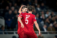 Robert Lewandowski celebrates with Benjamin Pavard of Bayern Munich after scoring a goal making it 7-2 during the UEFA Champions League group match between Tottenham Hotspur and Bayern Munich at Wembley Stadium, London, England on 1 October 2019. Photo by Andy Rowland.