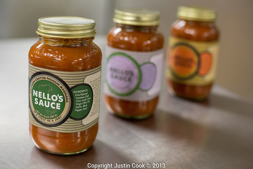 Copyright Justin Cook | November1, 2013<br /> <br /> Nello's sauce comes in 4 flavors and will soon be available at Whole Foods.