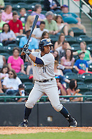 Jackson Valera (27) of the Charleston RiverDogs at bat against the Hickory Crawdads at L.P. Frans Stadium on May 25, 2014 in Hickory, North Carolina.  The RiverDogs defeated the Crawdads 17-10.  (Brian Westerholt/Four Seam Images)