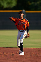 AZL Giants Orange second baseman Edison Mora (18) throws to first base during a game against the AZL Angels at Giants Baseball Complex on June 17, 2019 in Scottsdale, Arizona. AZL Giants Orange defeated AZL Angels 8-4. (Zachary Lucy/Four Seam Images)