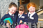 &nbsp;BREAK: Aislinn Barrett Lawlor, Caoimhe Spillane and Niamh Kearney on a break at their first day at Abbeydorney National School on Monday.<br />